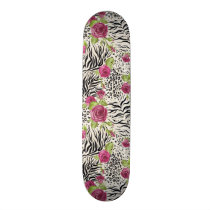 Roses On Animal Pattern Skateboard