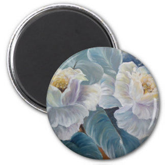Roses on blue 2 inch round magnet