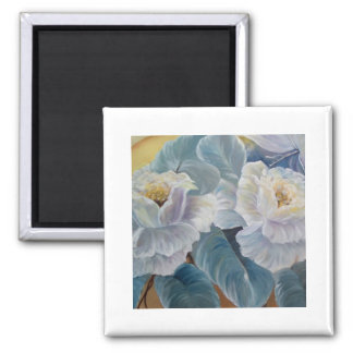 Roses on blue 2 inch square magnet