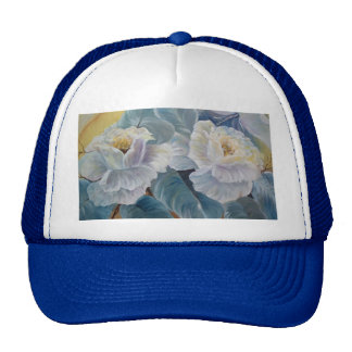 Roses on blue trucker hat
