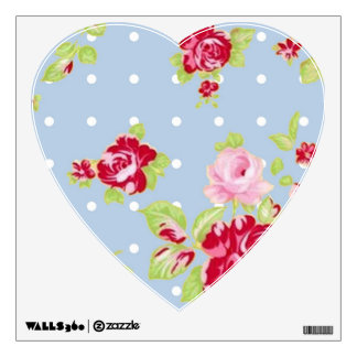 Roses On Blue Heart Wall Decal