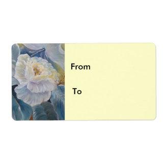 Roses on blue label
