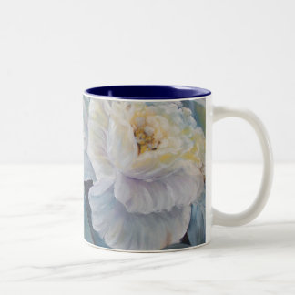 Roses on blue Two-Tone coffee mug