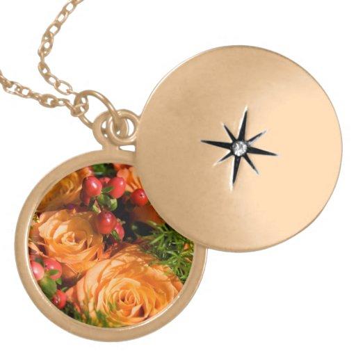 Roses on Gold Locket