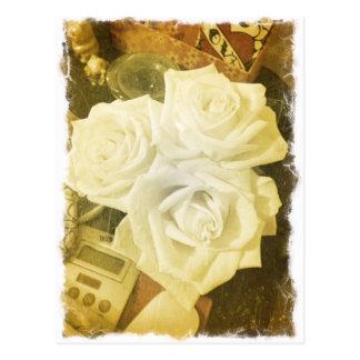 Roses on her desk postcard