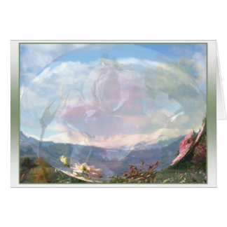 Roses on Mountains Snow Globe Card