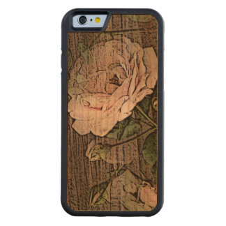 Roses on Weathered Wood Carved Cherry iPhone 6 Bumper Case