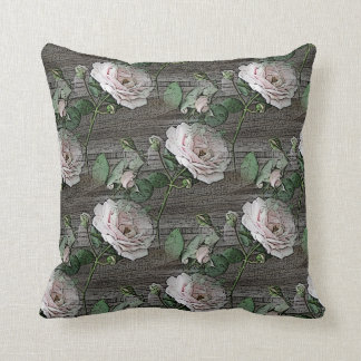 Roses on Weathered Wood Pillow