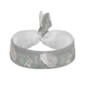 Roses on Weathered Wood Ribbon Hair Tie