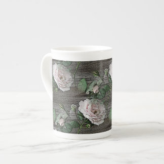 Roses on Weathered Wood Tea Cup