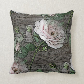 Roses on Weathered Wood Throw Pillow