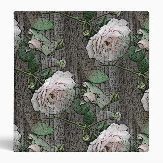 Roses on Weathered Wood Vinyl Binder