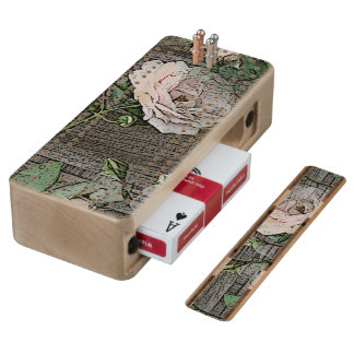 Roses on Weathered Wood Wood Cribbage Board