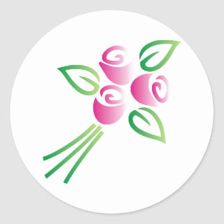 Roses on White Classic Round Sticker