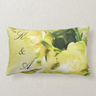Roses, other white flowers on old handwriting pillow