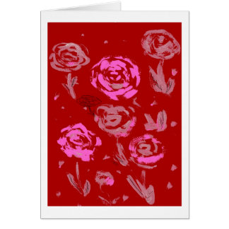 Roses Painting red background abstract Card