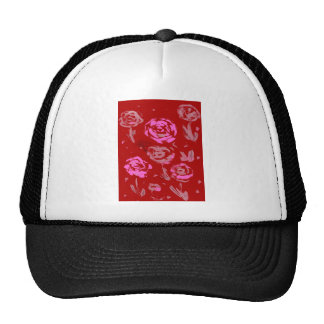 Roses Painting red background abstract Hats