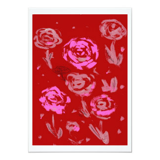 Roses Painting red background abstract Custom Announcements