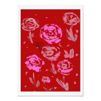 Roses Painting red background abstract Invite