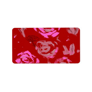Roses Painting red background abstract Personalized Address Labels