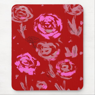 Roses Painting red background abstract Mouse Pad