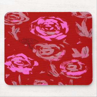 Roses Painting red background abstract Mouse Pads