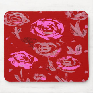 Roses Painting red background abstract Mousepads