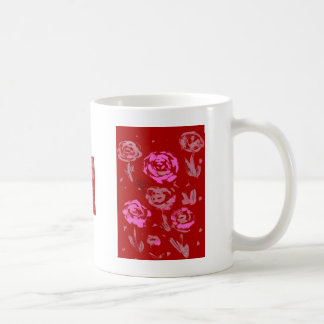 Roses Painting red background abstract Classic White Coffee Mug