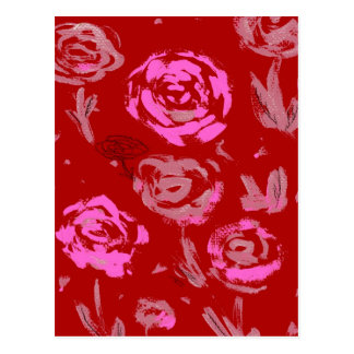 Roses Painting red background abstract Post Card