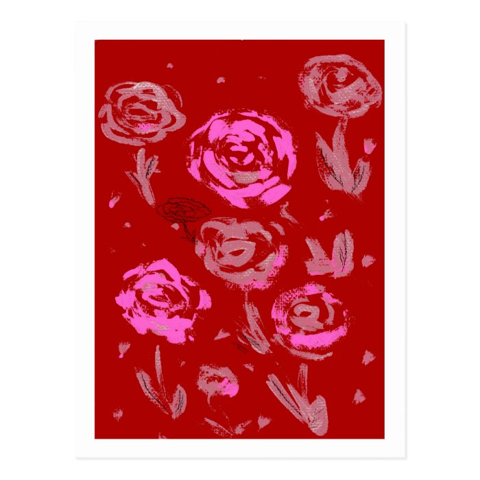 Roses Painting red background abstract Postcard