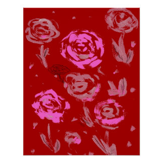 Roses Painting red background abstract Poster
