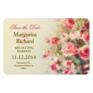 roses painting vintage save the date magnets
