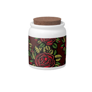 Roses pattern candy jars