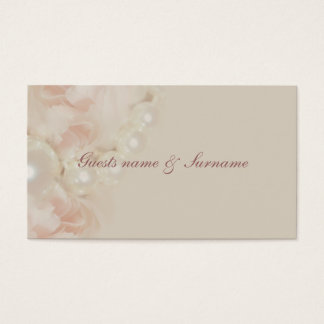 Roses pearls pink seating name tags for weddings