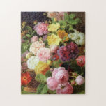 """Roses, Peonies and Other Flowers Dutch Fine Arts Jigsaw Puzzle<br><div class=""""desc"""">Dutch flower painter,  Jan Frans van Dael,  c. (1765-1840) created this beautiful flower painting still life of mixed flowers called Roses,  Peonies and Other Flowers on a Ledge.</div>"""