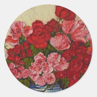 Roses & Peonies Round Sticker