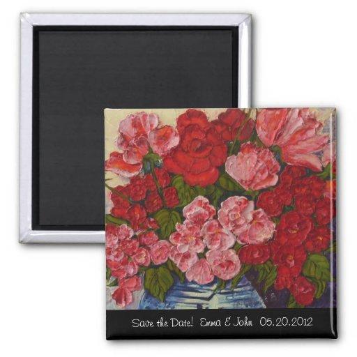 Roses & Peonies Save the Date Fridge Magnet
