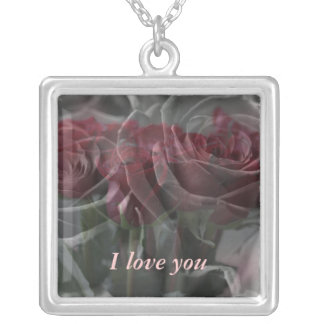 Roses Personalized Text Square Pendant Necklace