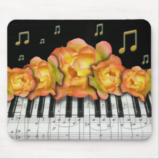 Roses Piano Keyboard and Music Notes Mouse Pad