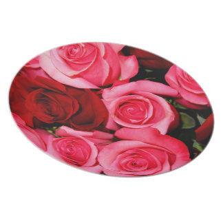 Roses, Pink and Red-Melamine Dinner Plate