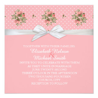Roses Pink Dots Damask Wedding Invite