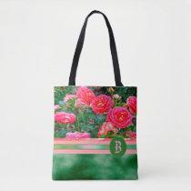 ROSES Pink Green Monogram Shoulder Shopping Tote