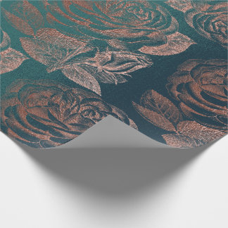Roses Pink Rose Gold Metallic Floral Teal Green Wrapping Paper