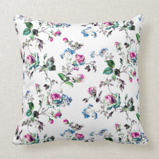 Roses - Pink Roses & Blue Flowers Over White Throw Pillows
