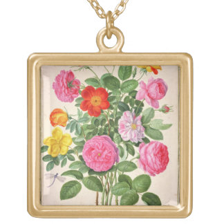 Roses, plate 4 from the Nassau Florilegium (w/c on Personalized Necklace