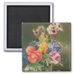 Roses, Poppy and Pelargonia 2 Inch Square Magnet