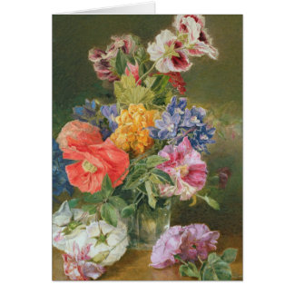 Roses, Poppy and Pelargonia Greeting Card