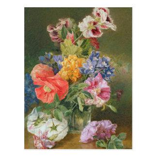Roses, Poppy and Pelargonia Postcard