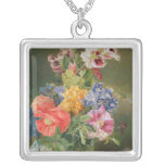Roses, Poppy and Pelargonia Square Pendant Necklace