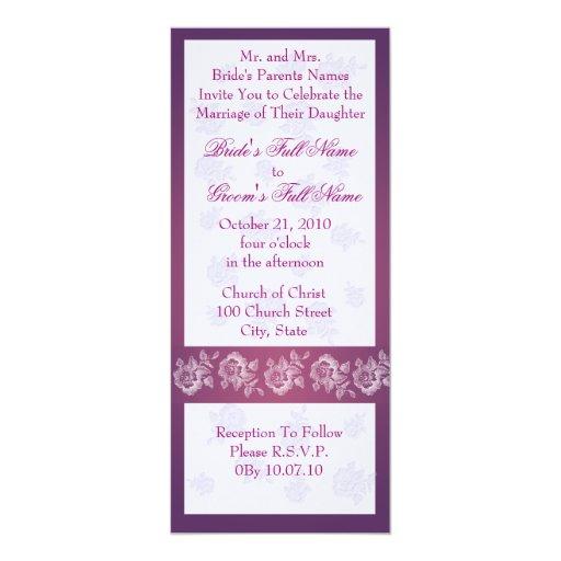 "Roses - Purple Wedding invitation card 4"" X 9.25"" Invitation Card"